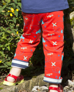 Red Kids Reversible Airplane Trousers - children's trousers