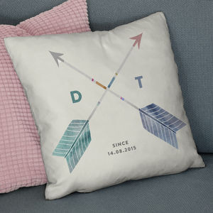 Personalised Couples Initials Arrow Cushion - bedroom