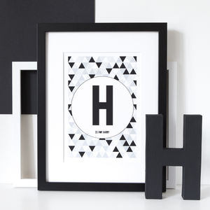 Personalised Monochrome Geometric Letter/Number Print - summer sale
