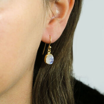 Gold Plated Moonstone Oval Earrings