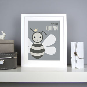Personalised Queen Bee Nursery Print