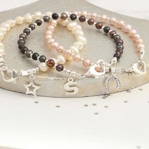 Pearl Stacking Bracelets With Silver Charms - bracelets & bangles