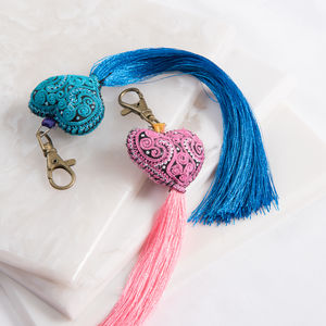 Boho Handmade Heart Bag Charm - womens