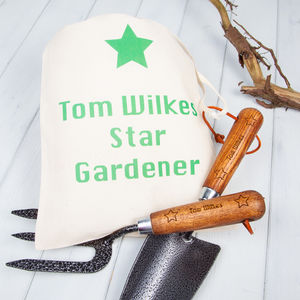 Star Trowel And Fork Personalised Garden Tools Set