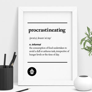 'Procrastineating' Typography Print - summer sale