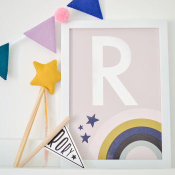 Personalised Rainbow Letter Modern Children's Print