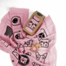 Pink Muslin Square / Muslin Swaddle With Wooden Teether