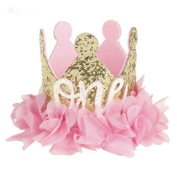 First Birthday Gold And Pink Crown