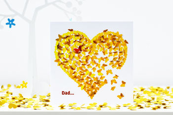 Dad Heart Of Gold Card, Dad Butterfly Heart Card