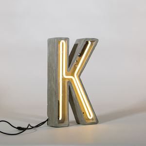 Concrete And Neon Alphabet Letter Light - outdoor decorations