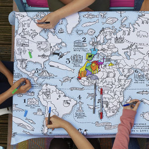 Colour In World Map Tablecloth - tableware