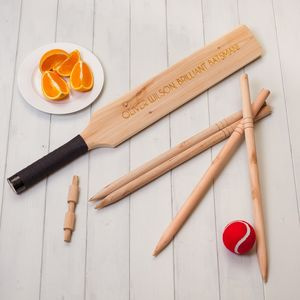 Childrens Personalised Wooden Cricket Set