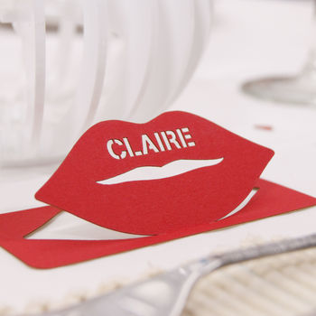 Personalised Lips Table Name Place Card