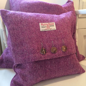 Herringbone Harris Tweed Cushion - bedroom