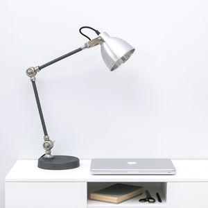 Industrial Style Silver And Black Desk Lamp - living room