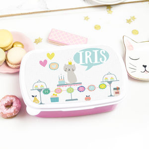 Personalised Children's Lunchbox 'Sweet cat'
