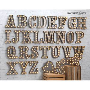 Carnival Letter Lights 'A To Z' Industrial Silver - wall lights