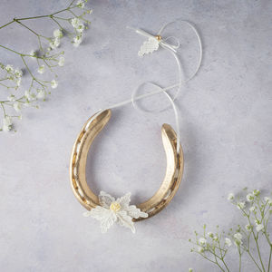 Gold Charlotte Lace Leaf Lucky Wedding Horseshoe