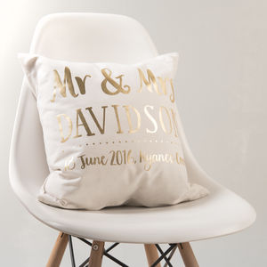 Personalised Gold Wedding Couple Cushion - 50th anniversary: gold