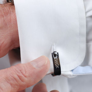 Contemporary Gunmetal Wrap Cufflinks - mens