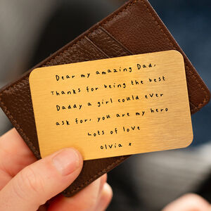 Personalised Handwritten Message Wallet Keepsake Card