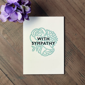 'With Sympathy' Botanical Letterpress Card