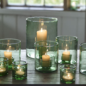 Barley Recycled Glass Hurricane Lamp