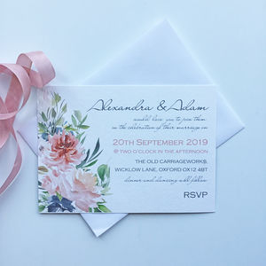 Handmade Floral Wedding Invitation