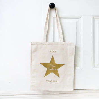 Personalised Teacher Gold Star Bag