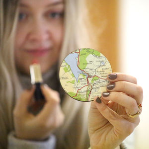Personalised Map Location Compact Pocket Mirror For Her - compact mirrors