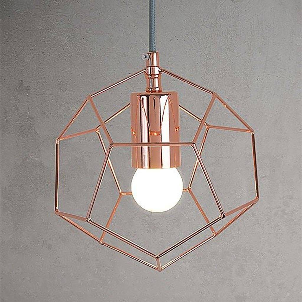 Copper Geometric Cage Pendant Light