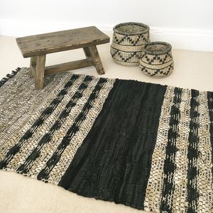 Leather Artisan Woven Rug - rugs & doormats