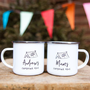 Camping Personalised Enamel Mug - new in garden