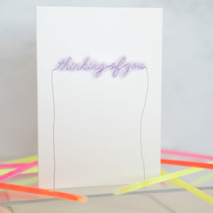 Neon Sign 'Thinking Of You' Card