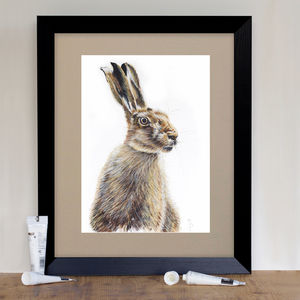 Wild Brown Hare Signed Mounted Giclée Print - posters & prints