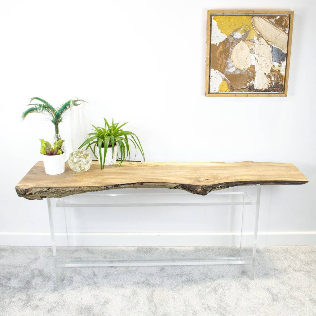 Natural Live Edge Slab Console Table On Perspex Base