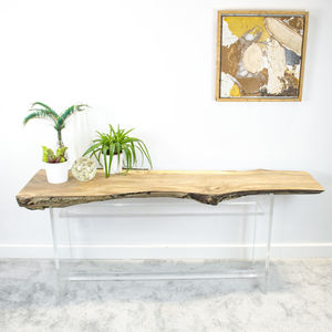 Natural Live Edge Slab Console Table On Perspex Base - furniture