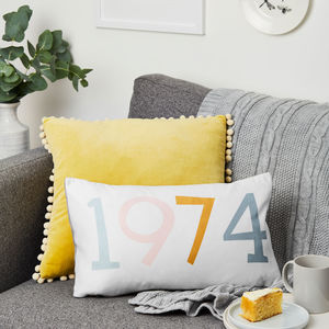 Personalised Birth Year Cushion - for her
