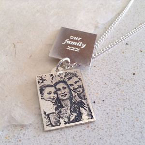 Personalised Sterling Silver Mens Photo Pendant - necklaces