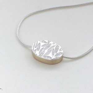 Embossed Medium Oval Reversible Necklace - necklaces & pendants
