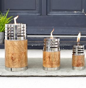 Wooden And Stainless Steel Garden Oil Lamp Three Sizes - lighting