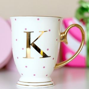 Spotty China Letter Mug - personalised