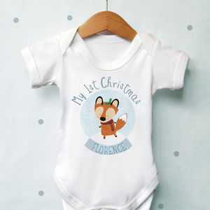 Personalised 1st Christmas Fox Globe Vest - gifts for babies