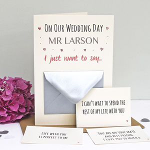 'On Our Wedding Day' Secret Messages Card - wedding cards