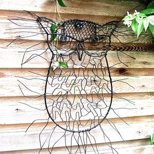 Sitting Owl Wire Garden Wall Art