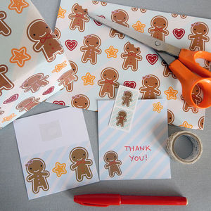 Cookie Cute Gingerbread Man Gift Wrap Set - christmas wrapping paper