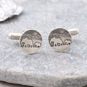 Sterling Silver Elephant And Baby Elephant Cufflinks - cufflinks