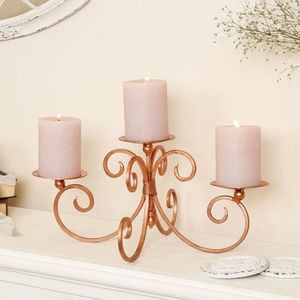 6th Anniversary Rose Copper Candle Display - votives & tea lights
