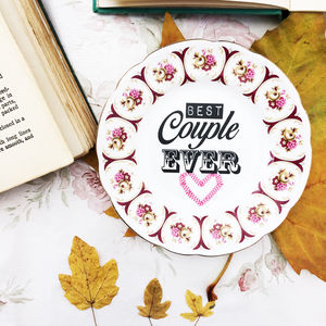 'Best Couple Ever' Upcycled Vintage China Tea Plate