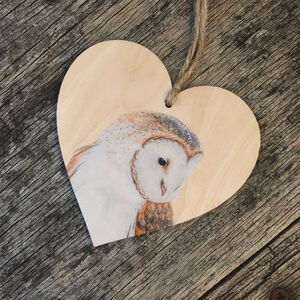 Barn Owl Bird Wooden Hanging Heart Decoration